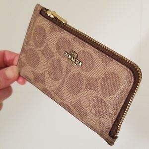 Coach Small L-Zip Card Case, Tan Dusty Pink, New!